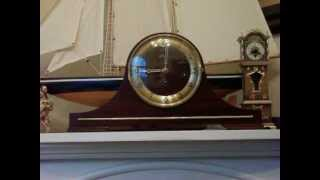 Linden Mahogany Tambour Westminster Chime Mantel Clock