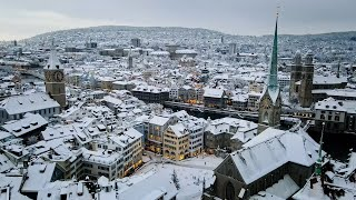 Drone Views of Switzerland in 4k: Zurich - Let it snow!