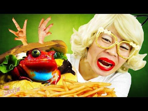 กินจุ กินโชว์ - เบอร์เกอร์ กบ หมู ตับ ขาไก่ 【คนกินจุ ชิกกี้พาย】 อาหารแปลก