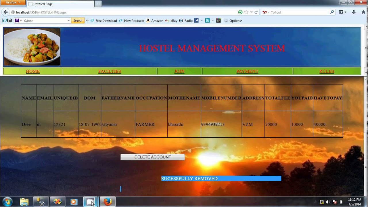 Hostel Management System Project Youtube
