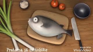 de dibujos animados divertido fugu, pez buntal el día de la cocina