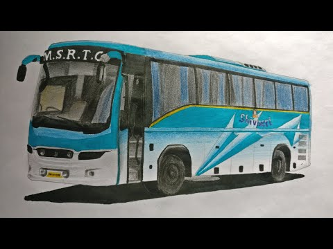 Shivneri bus sketch: How to draw a bus: Step by step
