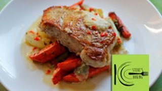 Pork Chops With Roasted Carrots, Fennel And Onion Sauce (stevescooking)