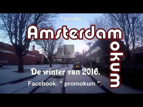Amsterdam noord.  De winter van 2016.  De Nieuwendammerdijk.