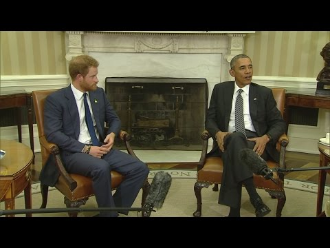 Prince Harry meets President Obama at The White House