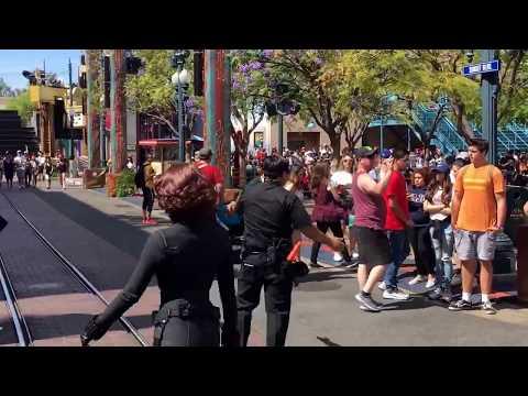 Black Widow Leads Avengers Truck Through Hollywood Land Summer of Heroes Disneyland DCA