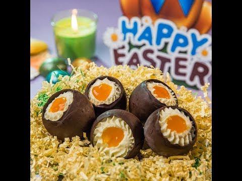 Ouă de ciocolată umplute cu cremă
