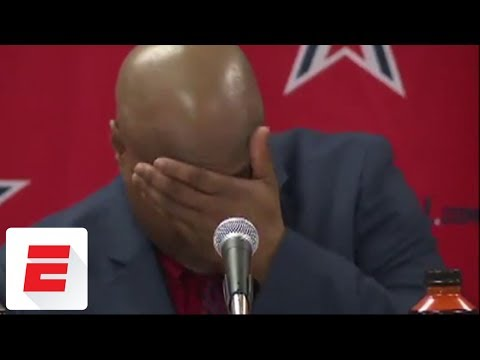 High school basketball player's heartfelt words at news conference leave coach in tears | ESPN