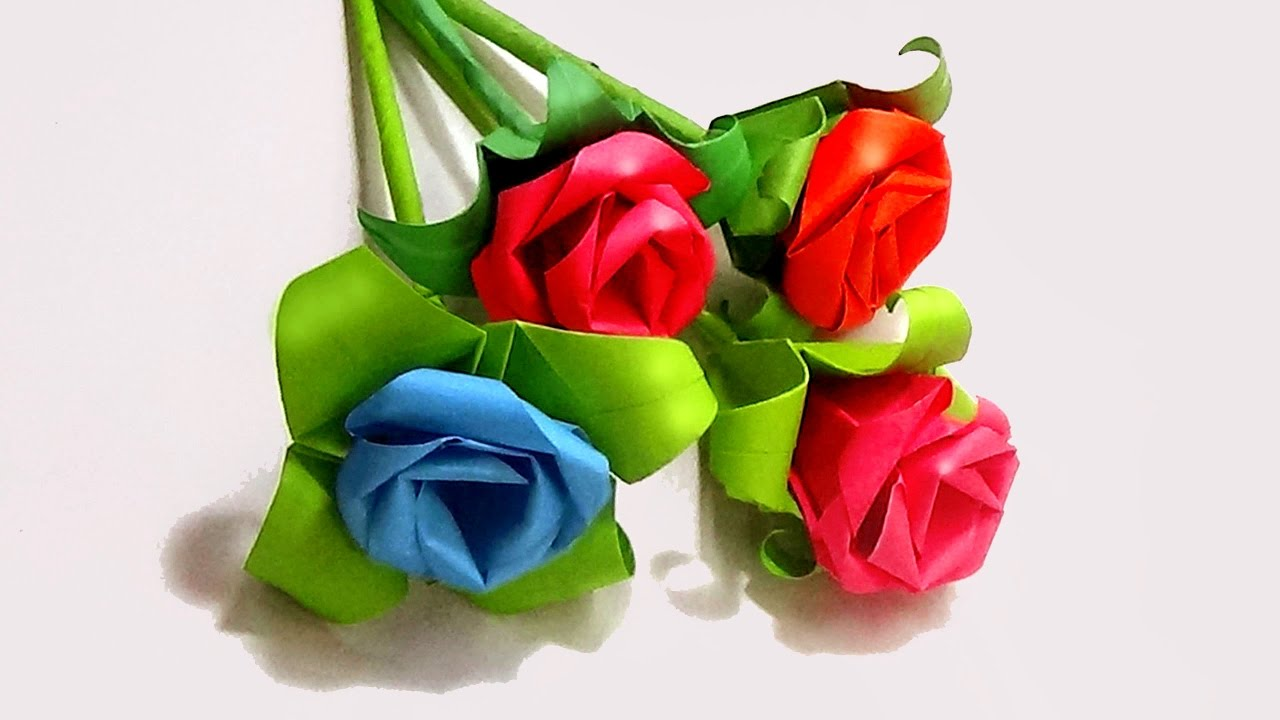 How to make a flower with color paper rose youtube how to make a flower with color paper rose mightylinksfo