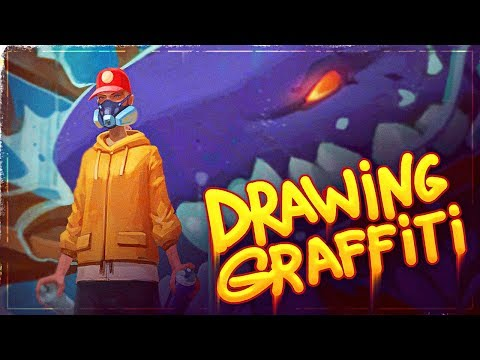 Drawing Graffiti on the Wall in Photoshop   Speed Painting