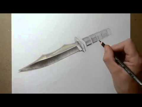 how to draw a realistic knife