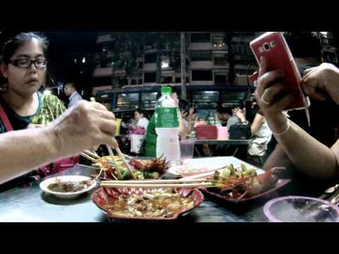 ร้านอาหารใน Chinatown yangon china town myanmar อาหารปิ้งย่าง