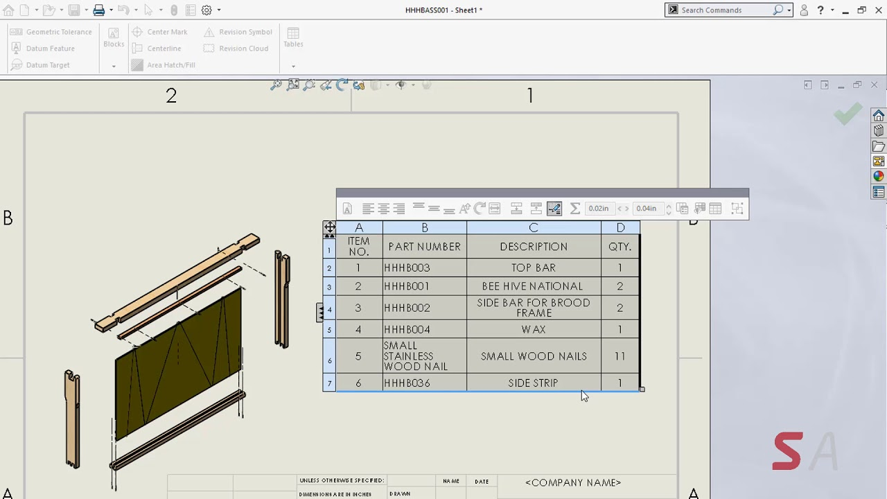 What's New in SOLIDWORKS 2019 – Tables to Excel and Default
