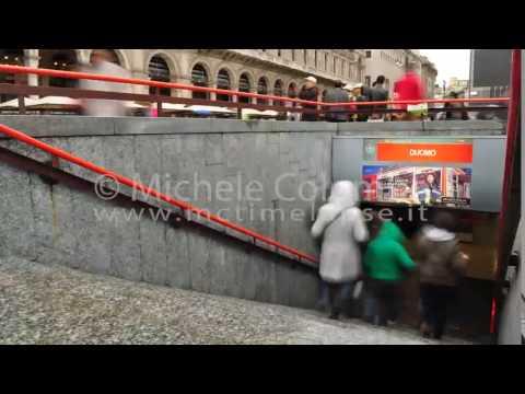0032 - time lapse - People in metro entrance in Milan