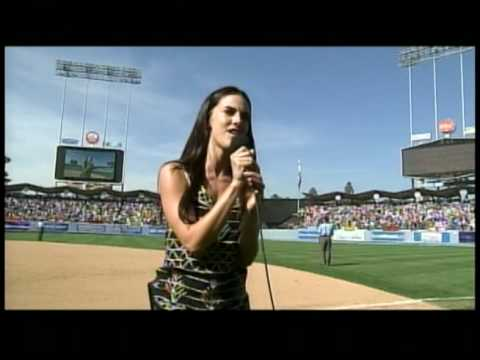 JESSICA LOWNDES sings God Bless America @ the Dodgers