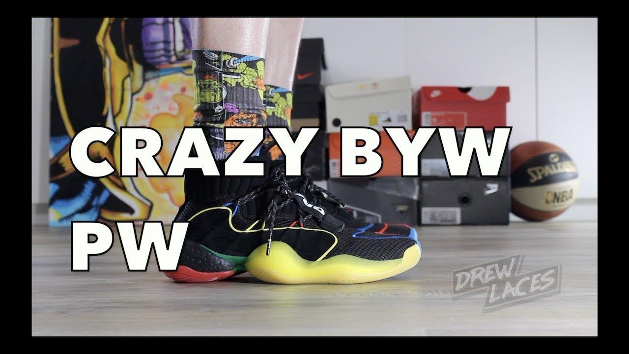 buy online d7787 af977 Adidas Crazy BYW LVL X Pharrell Williams on Feet
