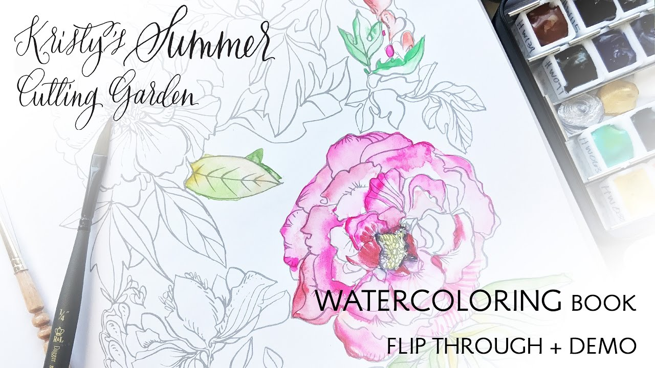 Kristy\'s Summer Cutting Garden WATERcoloring Book Flip Through and ...