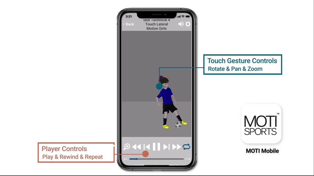 MOTI Sports- MOTI Mobile App 3D Skill Viewing Feature