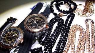"$295 16 piece Rose Gold/Black Wholesale deal! Miami ""Thick"" Cuban Chains+Bracelets+Rosaries+Watches"