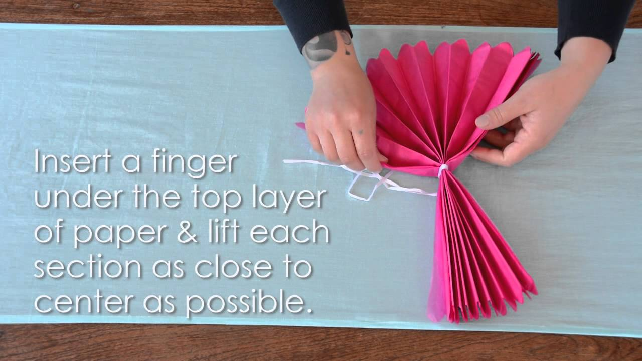 How To Assemble Tissue Paper Flower Pom Poms Youtube