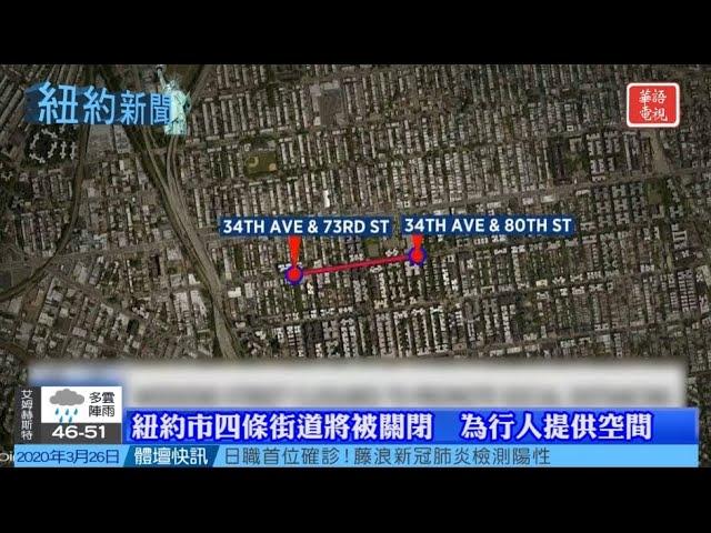 紐約新聞 03/26/20 紐約確診3.7萬多例/紐約市四條街道將被關閉以提供空間