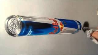 Anamorphic Illusion   Drawing 3D Levitating Red Bull Can   Dailymotion video