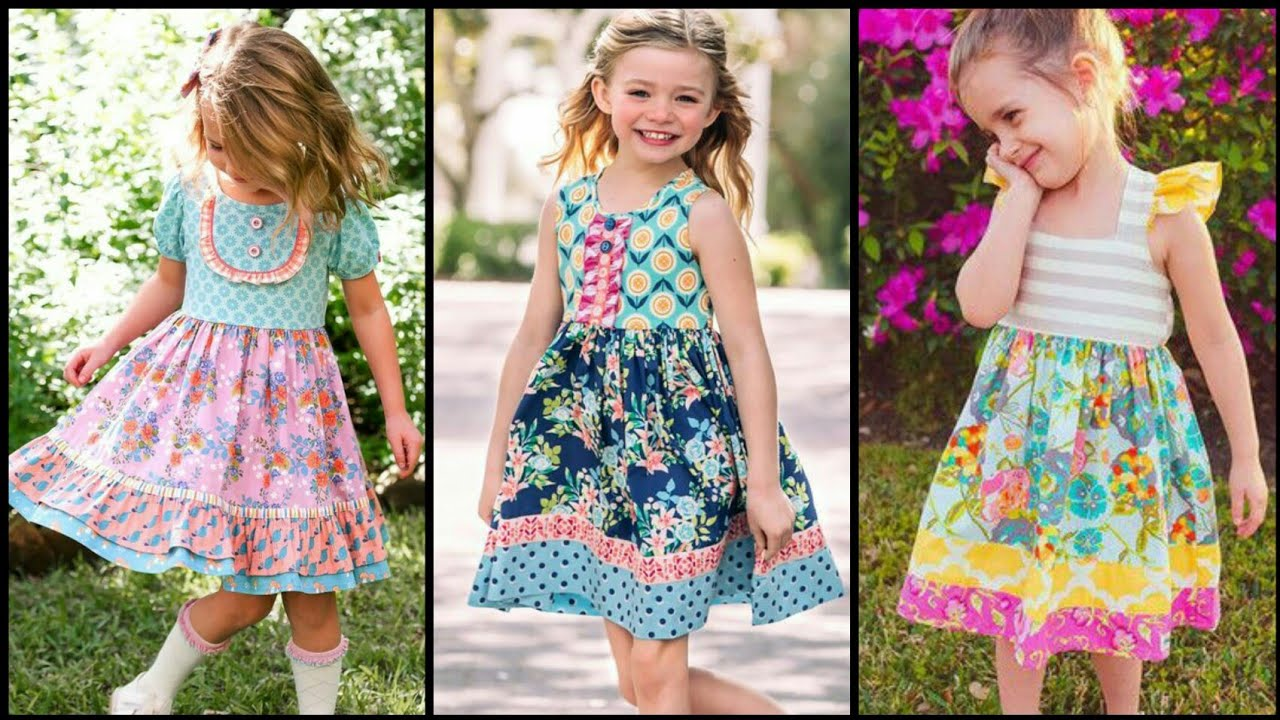 Beautiful Floral printed soothing colors Frock design for kids - Kids dress designing ideas 2k20