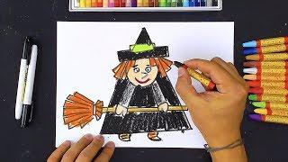 Ведьмочка на Хэллоуин - Урок рисования от РыбаКит