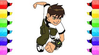 How To Draw and Color Ben Tennyson (Ben 10)  - Funny Cartoon Coloring Pages - Video for Kids