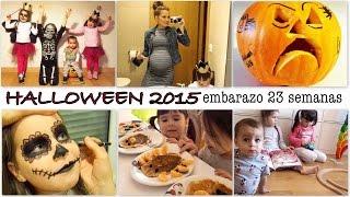 UN DÍA EN NUESTRA VIDA. Halloween disfraz, maquillaje, calabaza / EMBARAZO GEMELAR 23 SEMANAS