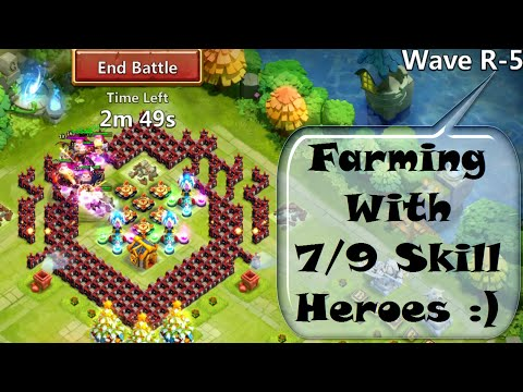 Castle Clash - Farming HBM R With 7/9 Skill Heroes :)