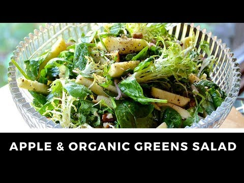 Healthy APPLE & ASSORTED GREENS SALAD - Vegetarian!