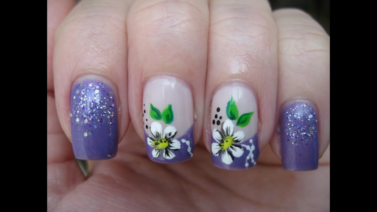 Nail art: Daisy on purple french - YouTube