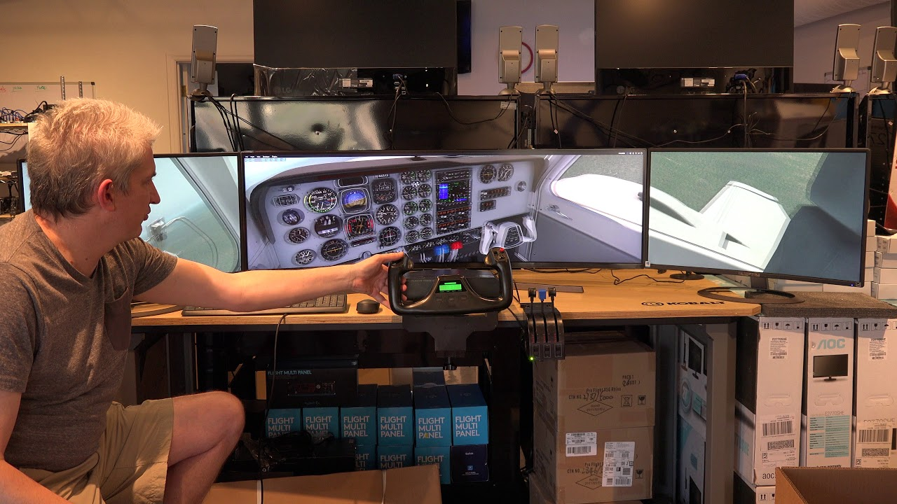 49 Inch Super Ultra wide curved display plus two 27 inch curved displays  running X-Plane 11