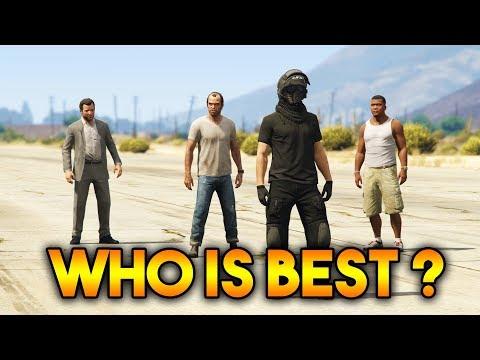 GTA 5 ONLINE : FRANKLIN VS MICHAEL VS TREVOR VS ONLINE CHARACTER (WHICH IS BEST CHARACTER ?)