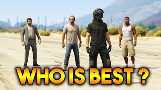 GTA 5 ONLINE : FRANKLIN VS MICHAEL VS TREVOR VS ONLINE CHARACTER (WHICH IS BEST CHARACTER ?)