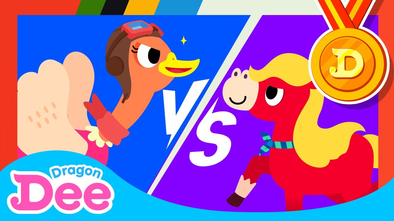 [2020 Tokyo Olympics Special🏅] Ostrich vs Horse | Animal Rush Athletics | Dragon Dee Songs for kids