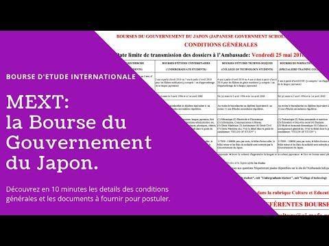 [Fr] Bourse d'Etude du Gouv. du Japon:  Conditions Generales & Dossiers