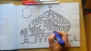 How to draw mosques skyline