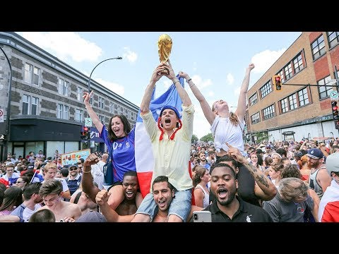 French football fans celebrate in Montreal