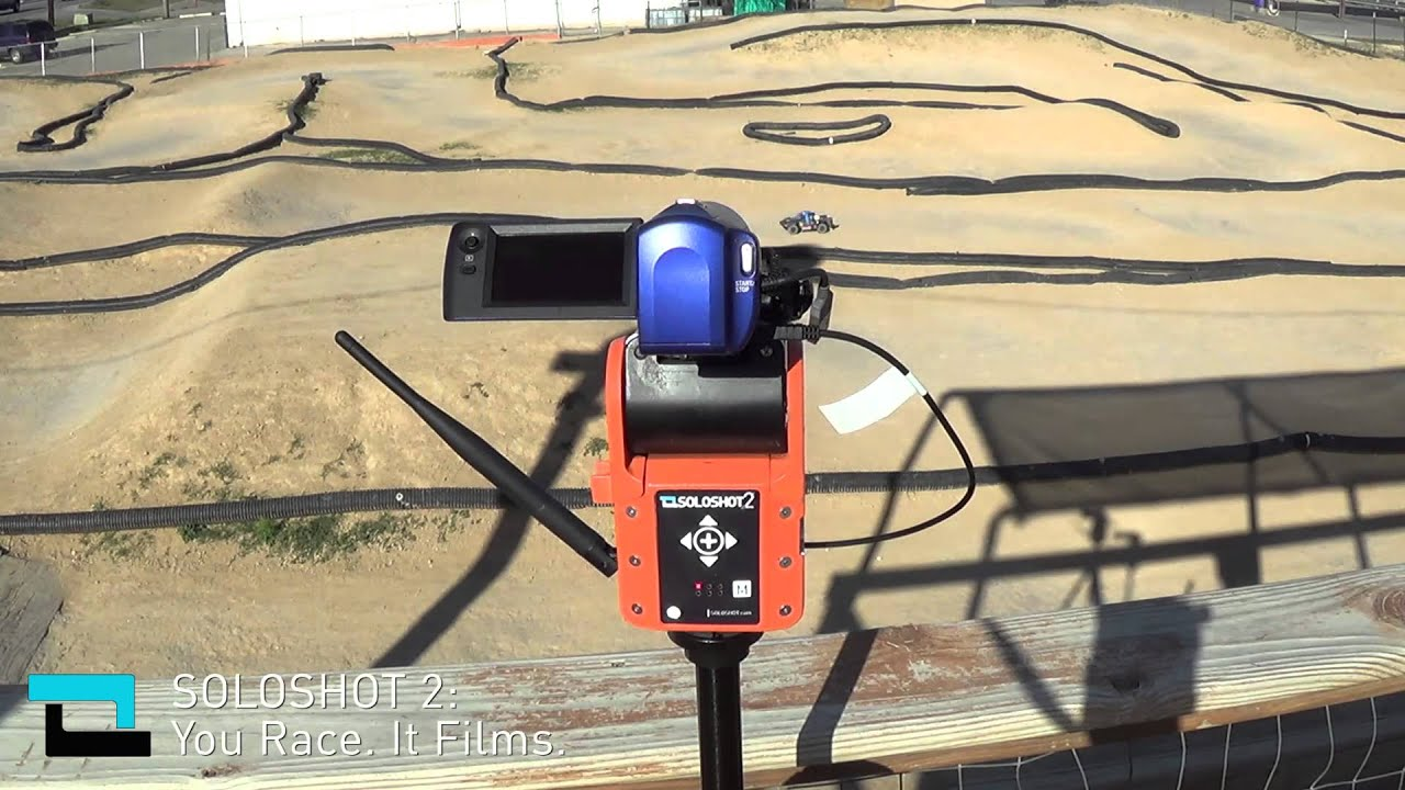 Robots Filming Robots At RC Race Track - Filmed With SOLOSHOT2