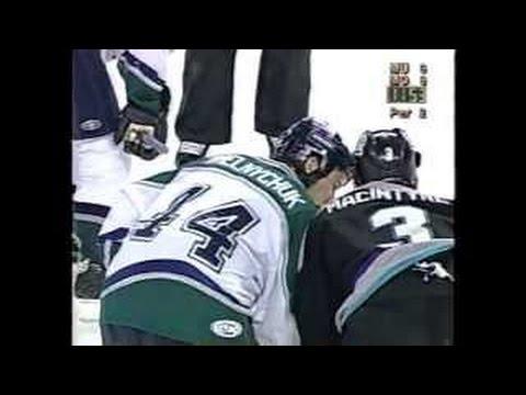 Steve MacIntyre vs Marty Melnychuk UHL fight 29-3-03
