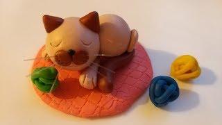 Как слепить Котика 🐈 из мастики, пластилина, полимерной глины (Cake/Fondant Topper - Cat)
