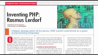 Computing Conversations: Inventing PHP--Rasmus Lerdorf