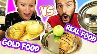 REAL FOOD vs GOLD FOOD Challenge Kathi vs Kaan im teuersten Essen-Duell! Echtes gegen Goldenes Essen