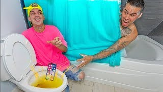 iPhone X  DROPPED IN TOILET PRANK!!!