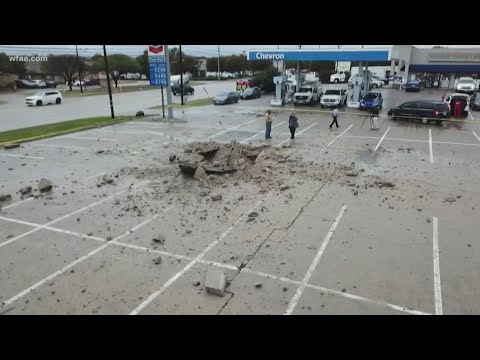 Lightning strike leaves behind 15-foot crater in Fort Worth parking lot