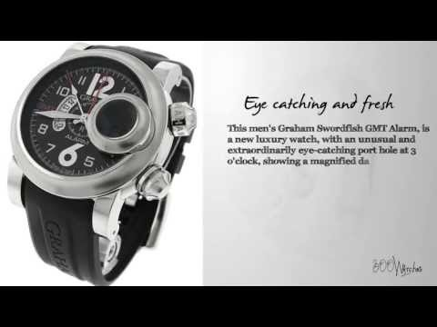 Graham Black Dial Swordfish 2SWASGMT.B01A GMT Alarm Watch