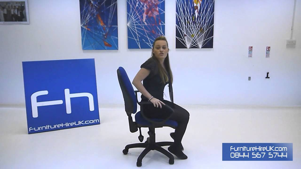 Blue Operators Chair with Arms Demo - Furniture Hire UK
