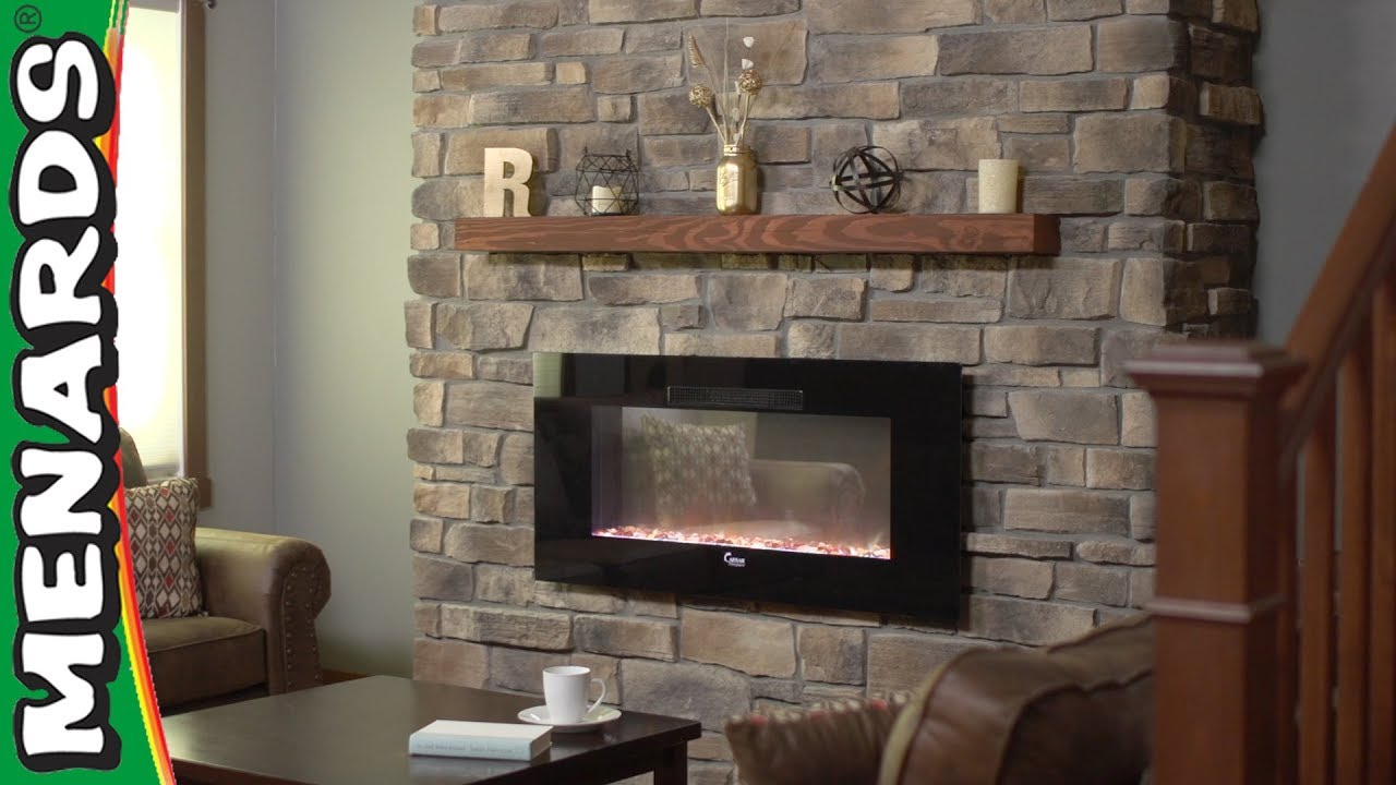 Stone Veneer Fireplace Menards How To Center